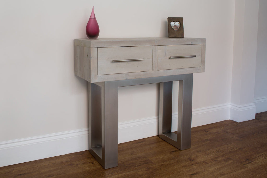 Grey 95.5cm Console Table With Bar Handles