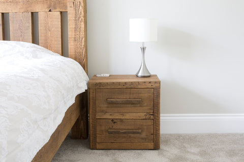 Warm 2 Drawer Bedside Table With Long Wooden Handles