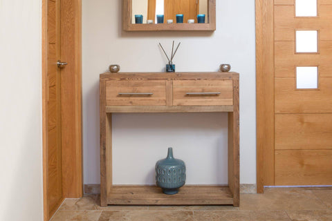 Natural 95.5cm Console Table With Bar Handles