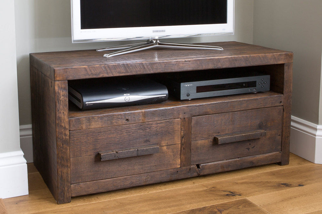"Classic 103.5cm Double TV Stand With Long Wooden Handles (Displayed With 32"" TV)"