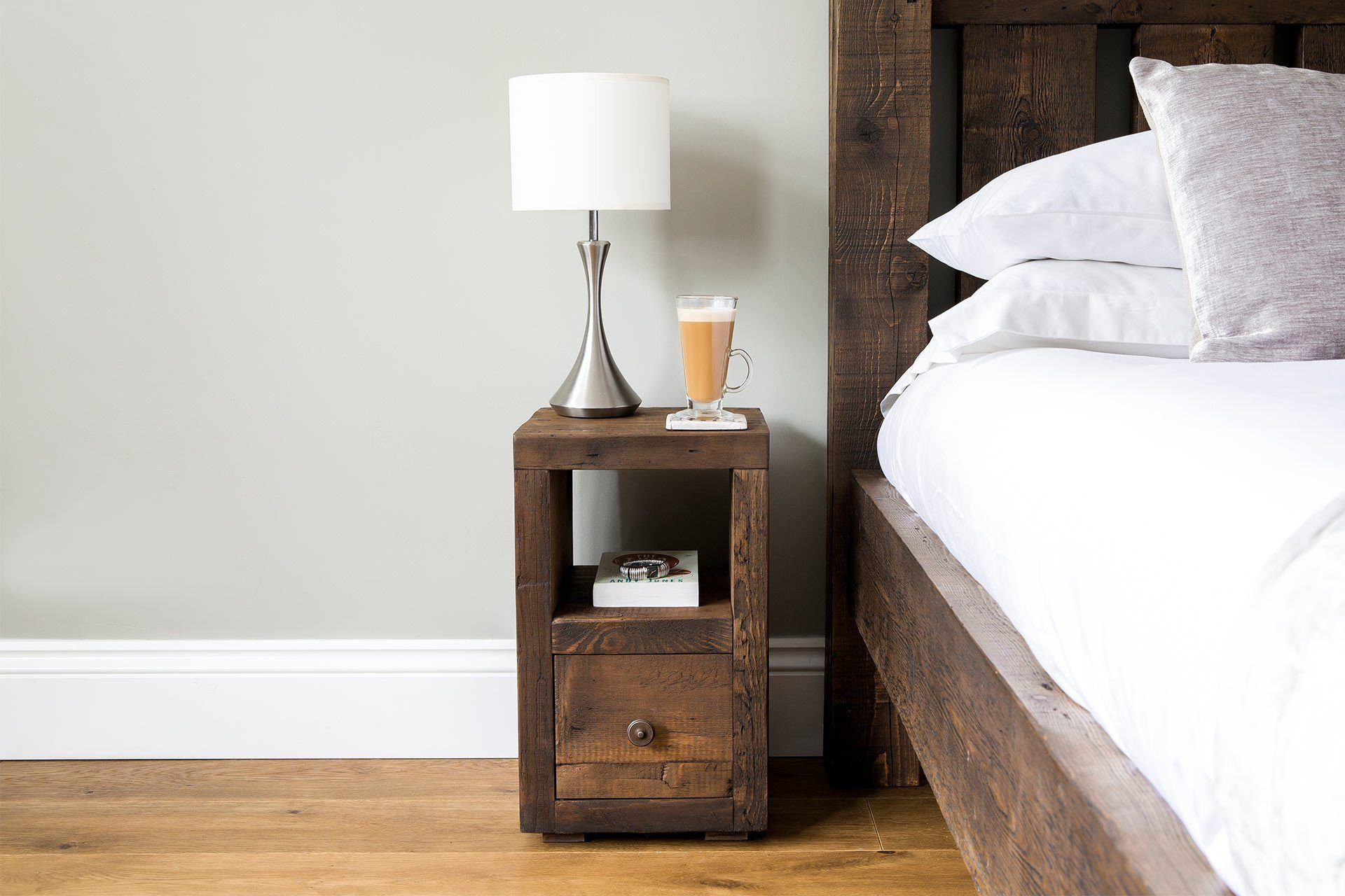 Classic Slim Bedside Table With Antique Knob