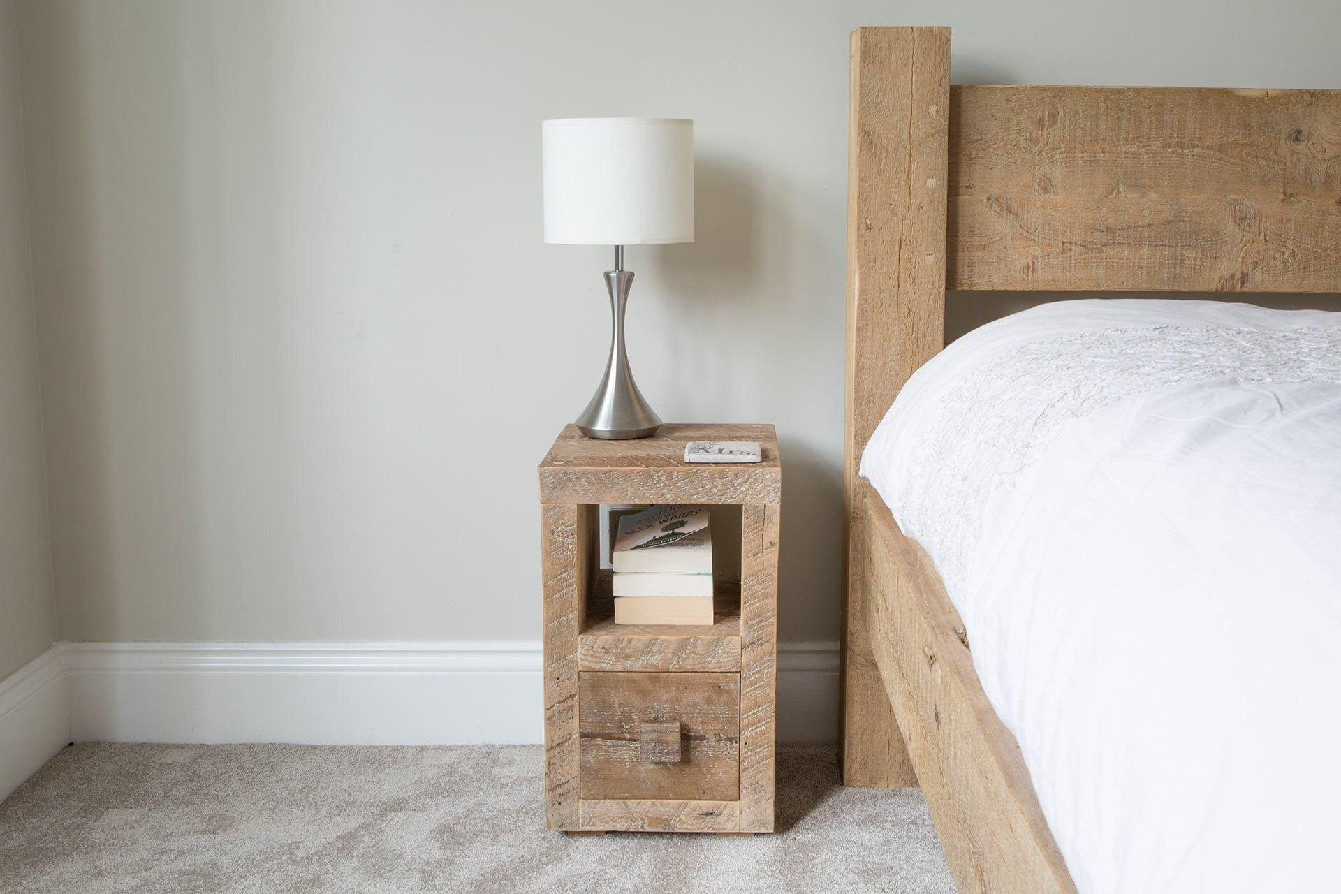 Natural Slim Bedside Table With Square Wooden Handle