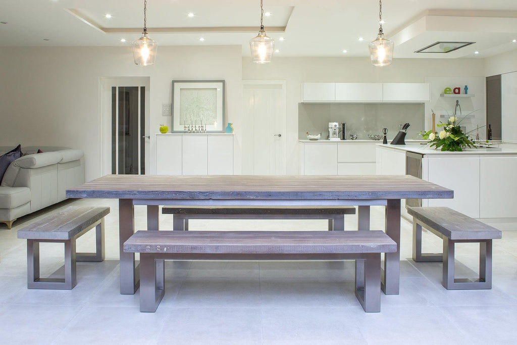 Grey 284cm Long Overhang Table With 178cm Side & 100cm End Benches