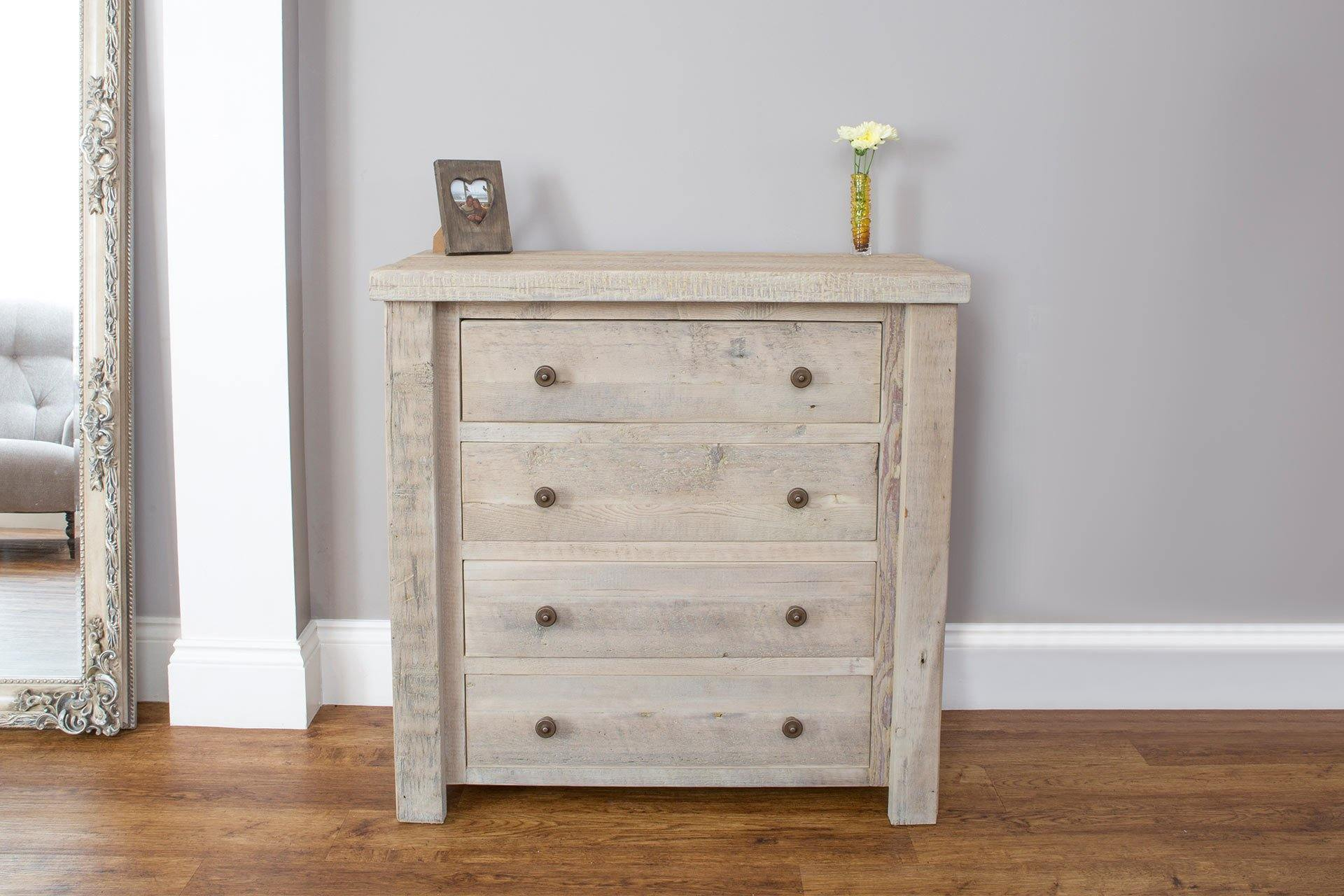 Grey 91.5cm Chest With 4 Drawers & Antique Knobs