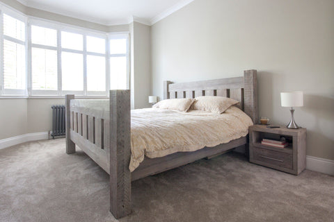 Grey Superking Bed With Branson 1 Drawer Bedside