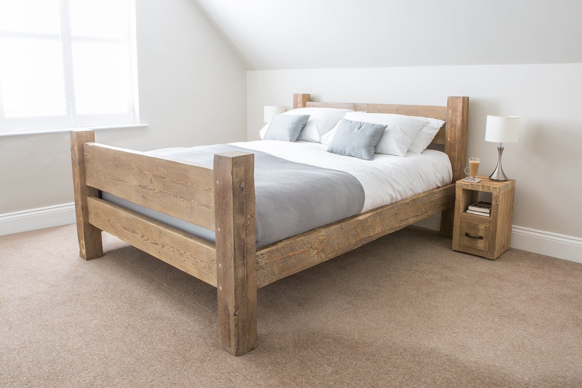 Natural Kingsize Bed With Slim Branson Bedsides (Sold Separately)