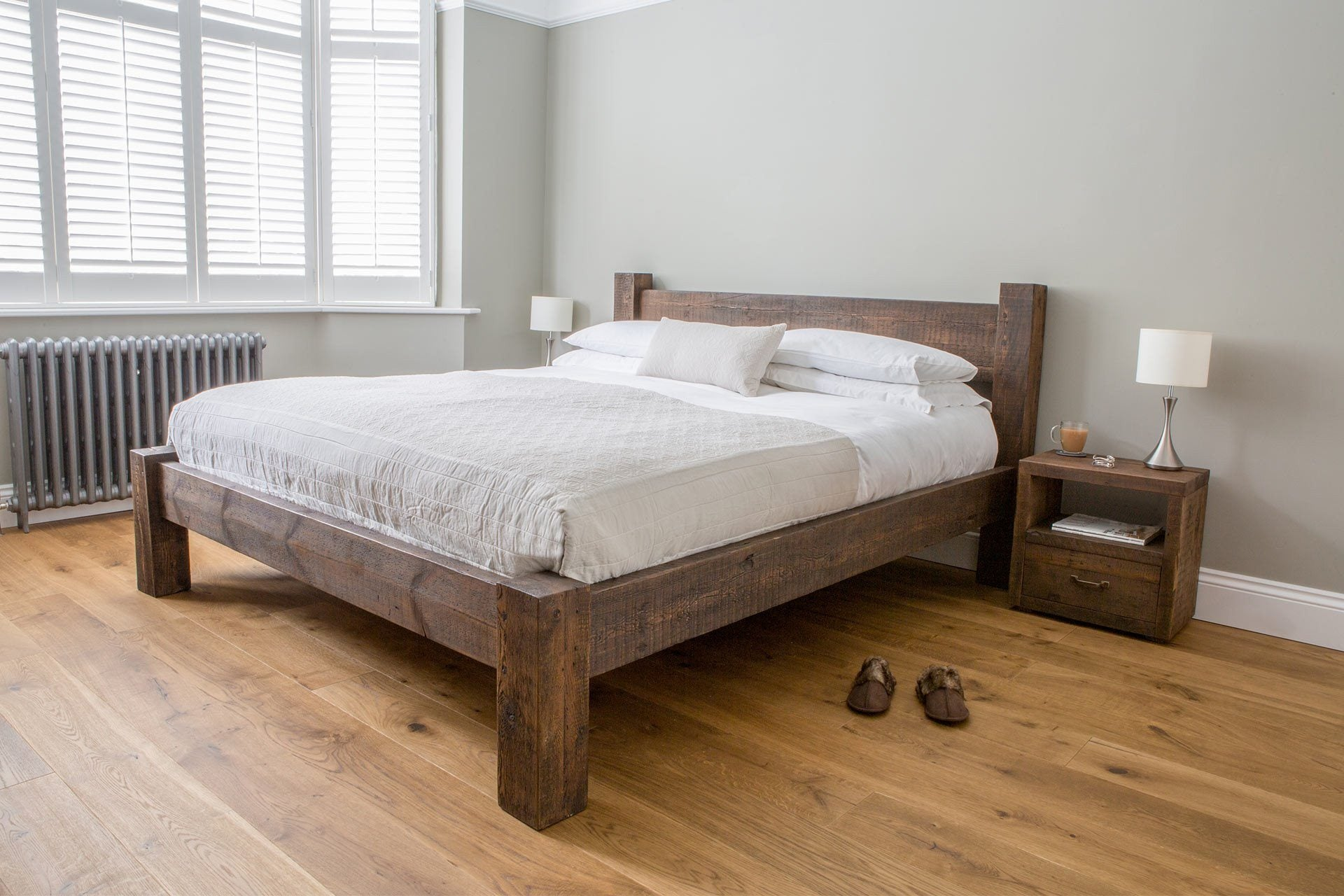 Reclaimed Rustic Wood Hudson Bed With Low End Eat Sleep Live