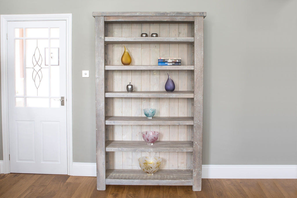 Grey 122cm Bookcase With 5 Adjustable Shelves