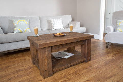 Warm 90cm x 60cm Coffee Table With Shelf