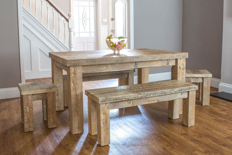 Reclaimed Rustic Wood Dining Furniture Eat Sleep Live - Distressed wood dining table with bench