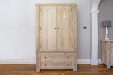 Grey 122cm Gents Wardrobe With Antique Knobs