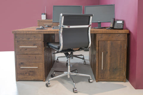 Warm Large Desk With Filing Unit And Cupboard With Bar Handles