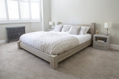grey superking bed with branson 1 drawer bedsides