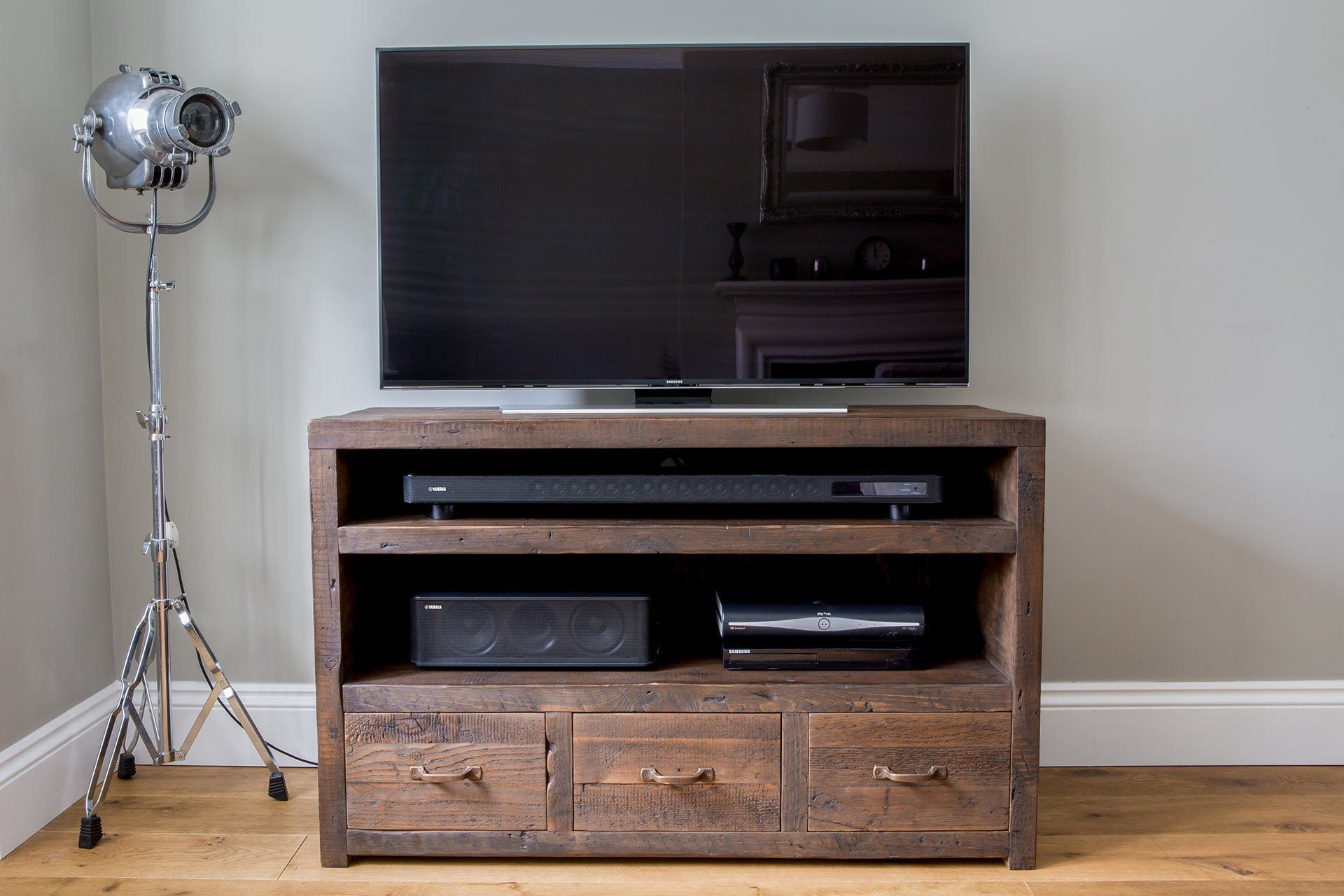 "Classic 120cm Triple TV Stand With Antique Handles (Displayed With 48"" TV)"