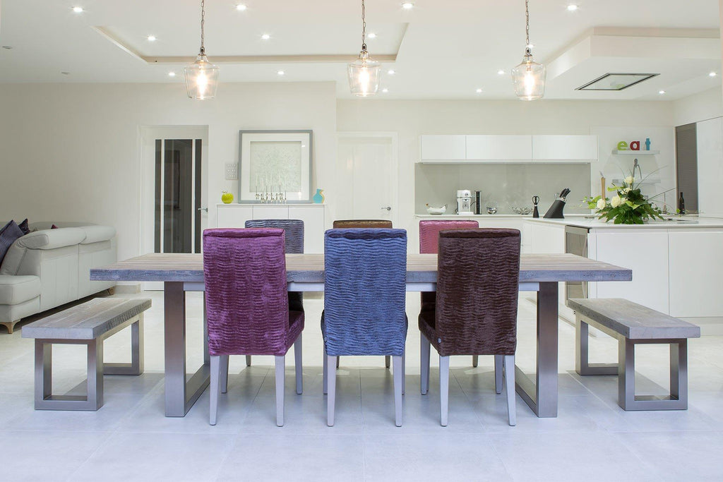 Grey 284cm Long Overhang Table With End Benches & Annabel Chairs