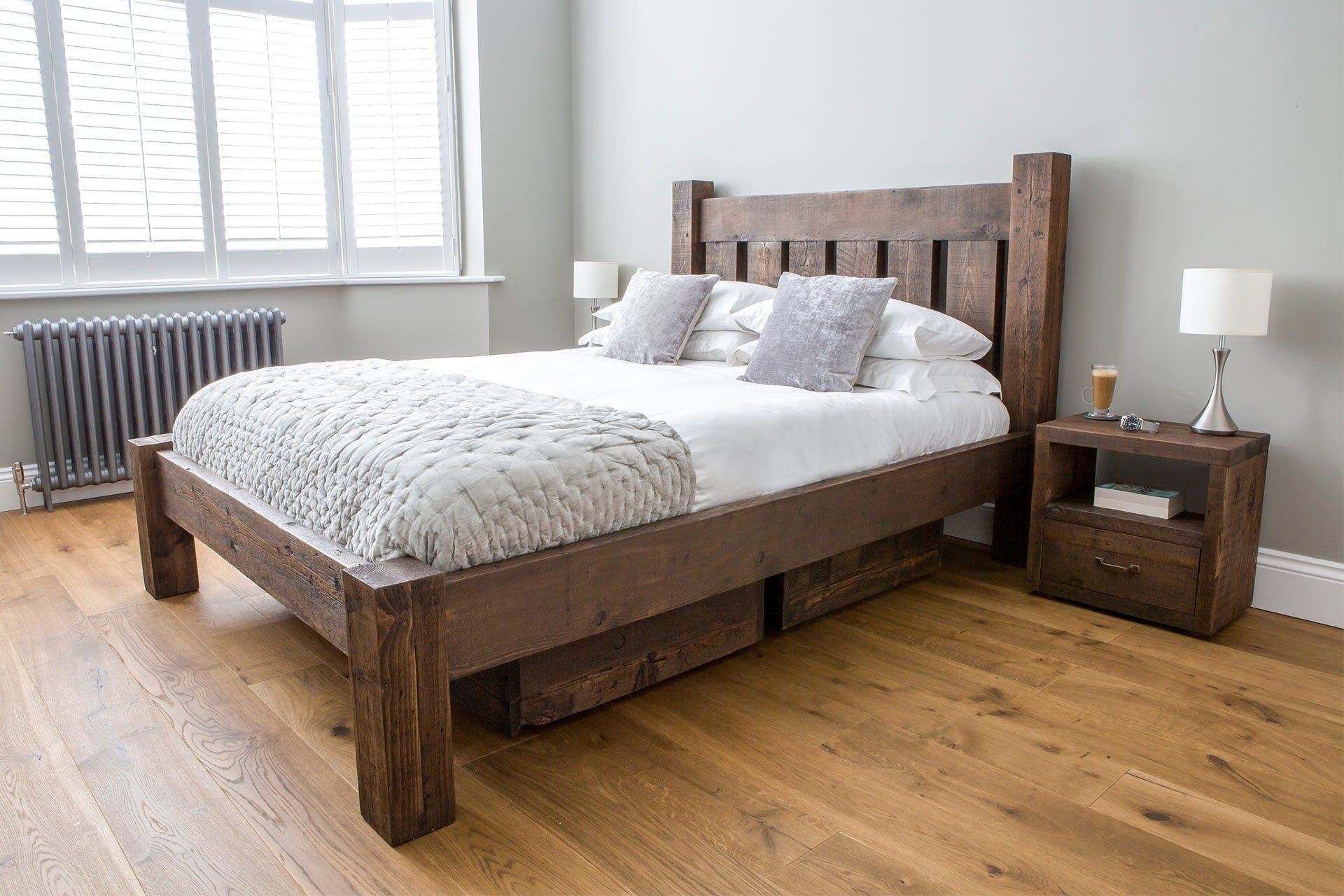 Reclaimed Rustic Wood Darcy Bed With Low End Eat Sleep Live