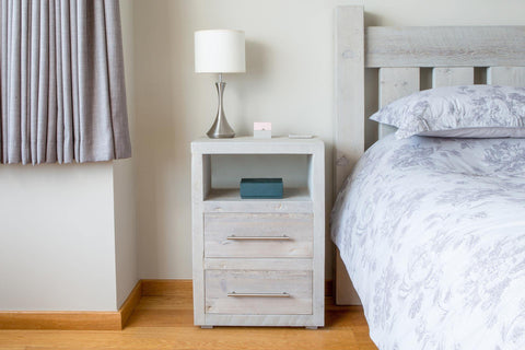 Grey Tall 2 Drawer Bedside Table With Bar Handles