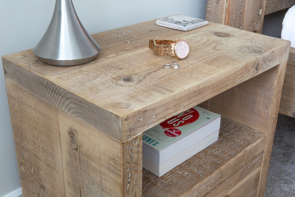 Natural 1 Drawer Bedside Table Detail