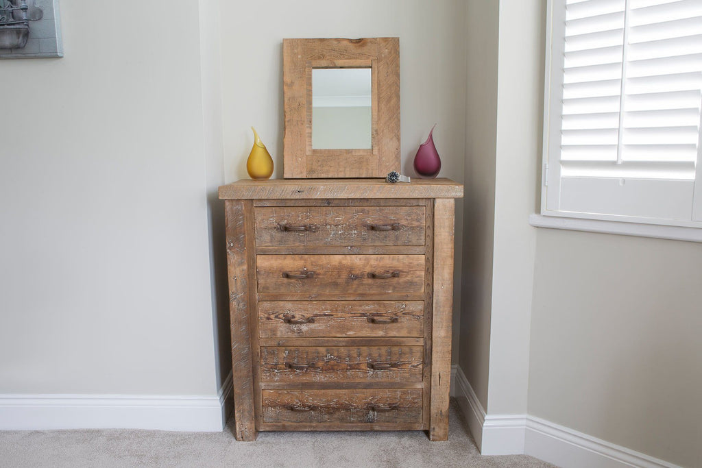 Natural 91.5cm Chest With 5 Drawers & Antique Handles