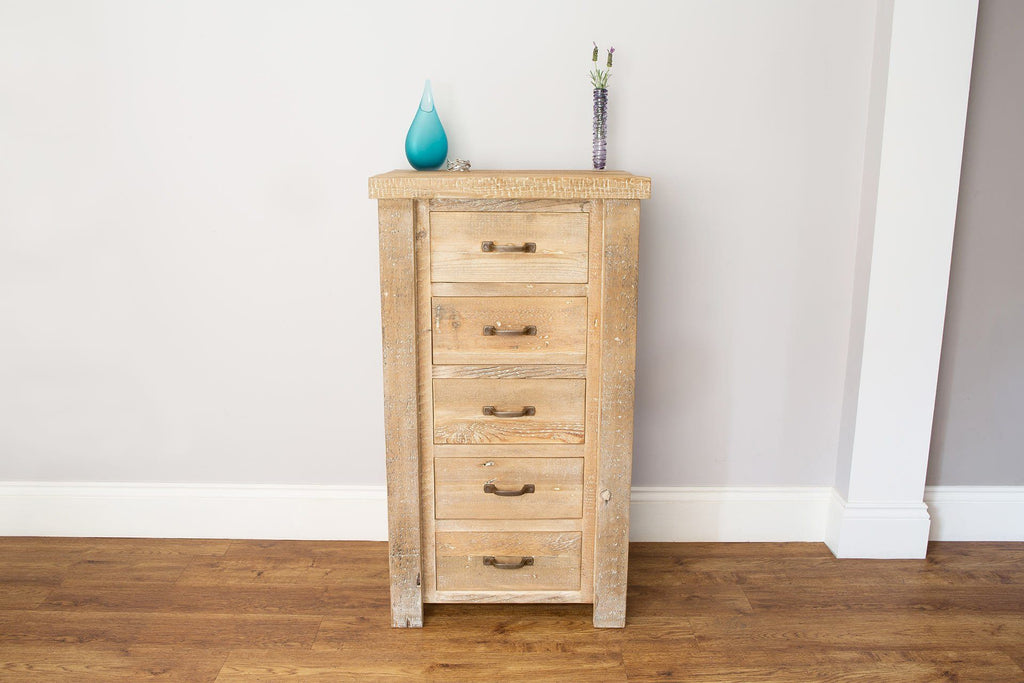 Natural 62.5cm Chest With 5 Drawers & Antique Handles