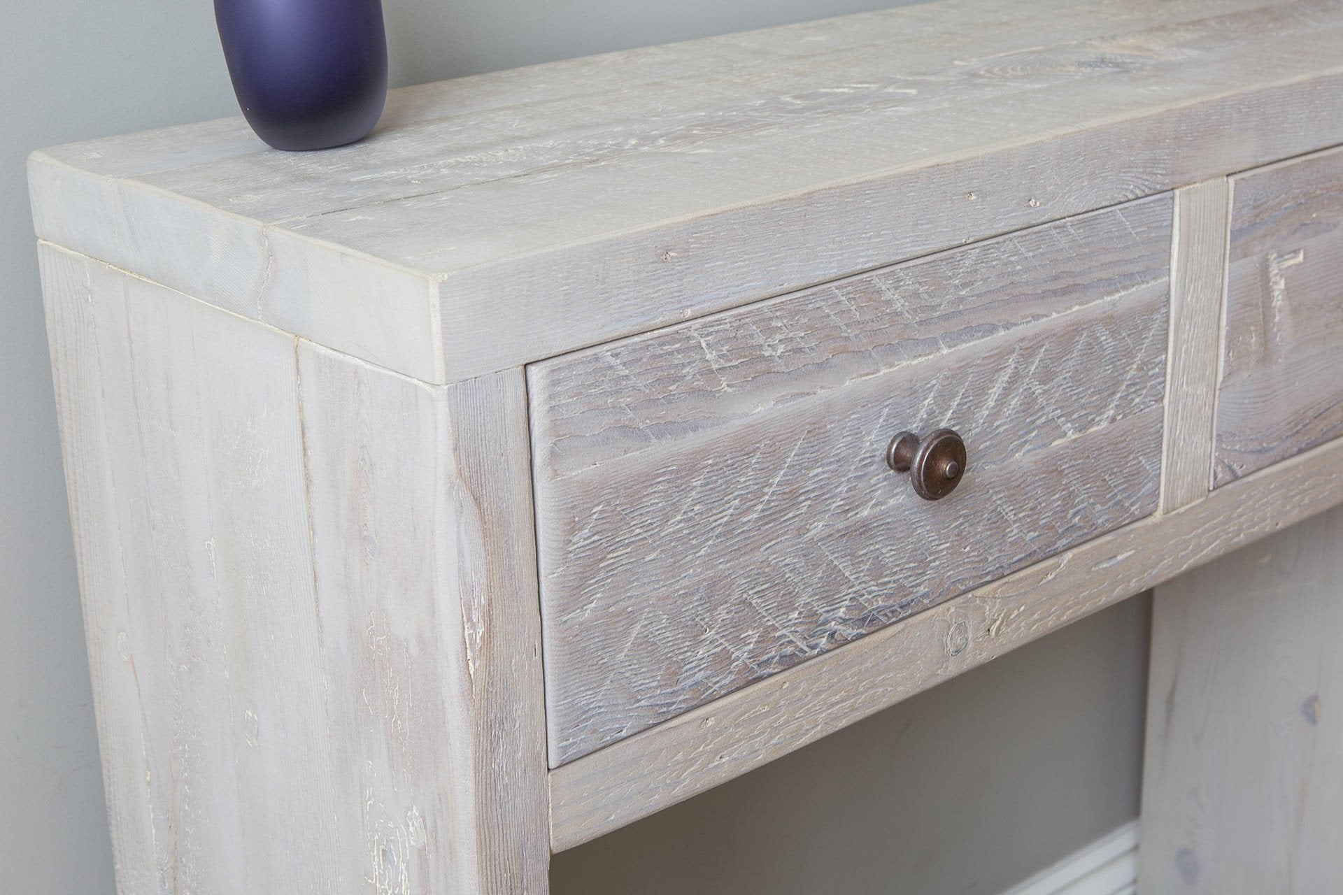 Grey Console Table Drawer Close Up