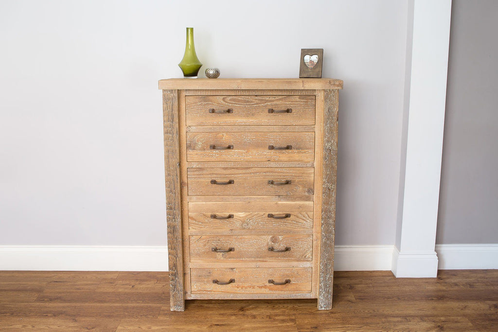 Natural 91.5cm Chest With 6 Drawers & Antique Handles