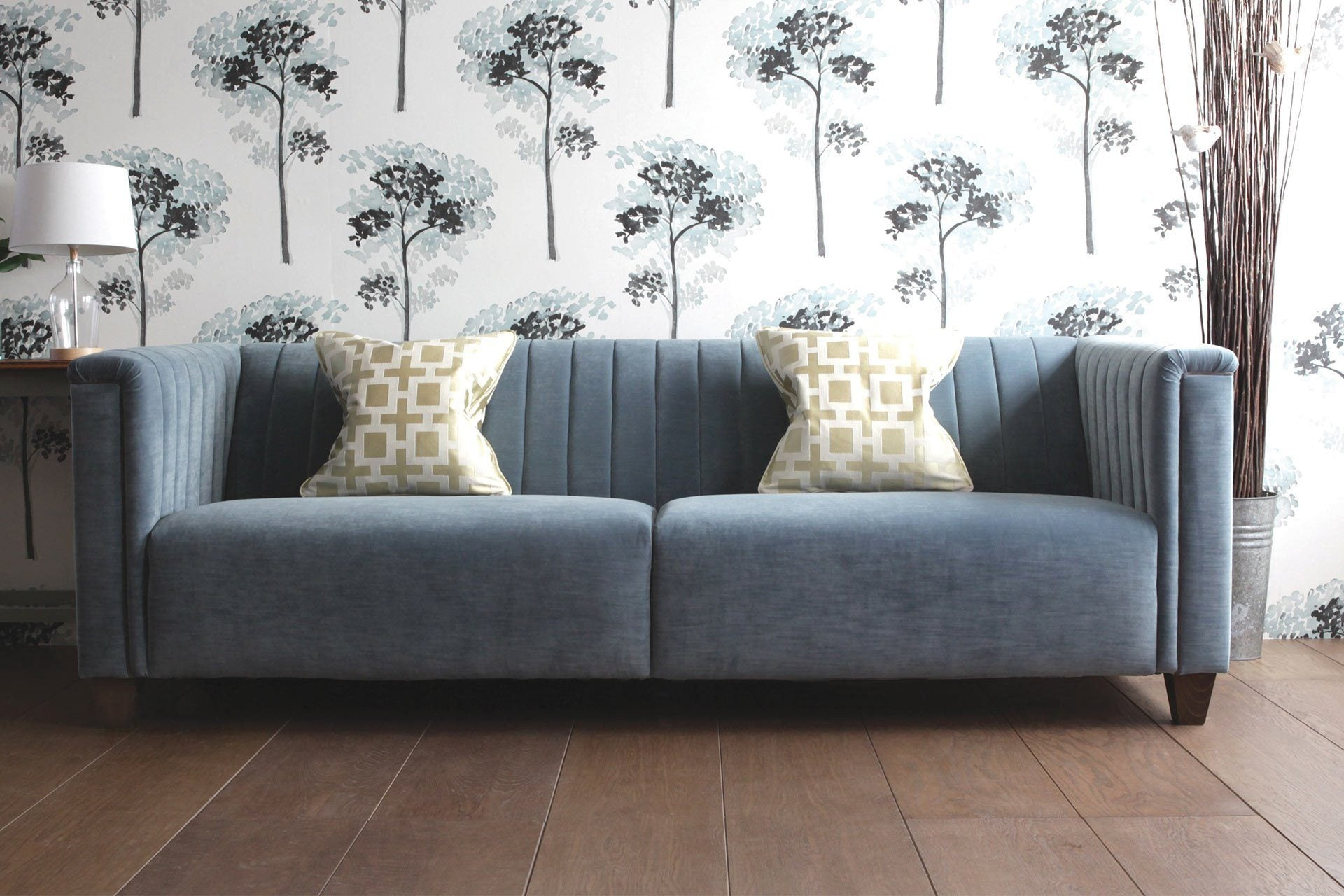 236cm Sofa With Ritzy Velvet Fabric In Delft Colour & Downing Celadon Cushions