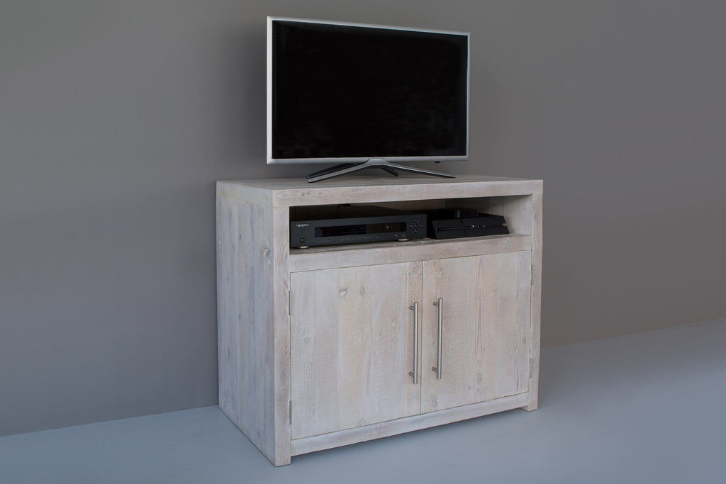"Grey 90.5cm Tv Cabinet With Bar Handles (Displayed With 32"" TV)"