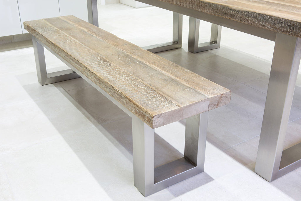 Natural 178cm Bench With 223cm Short Overhang Table