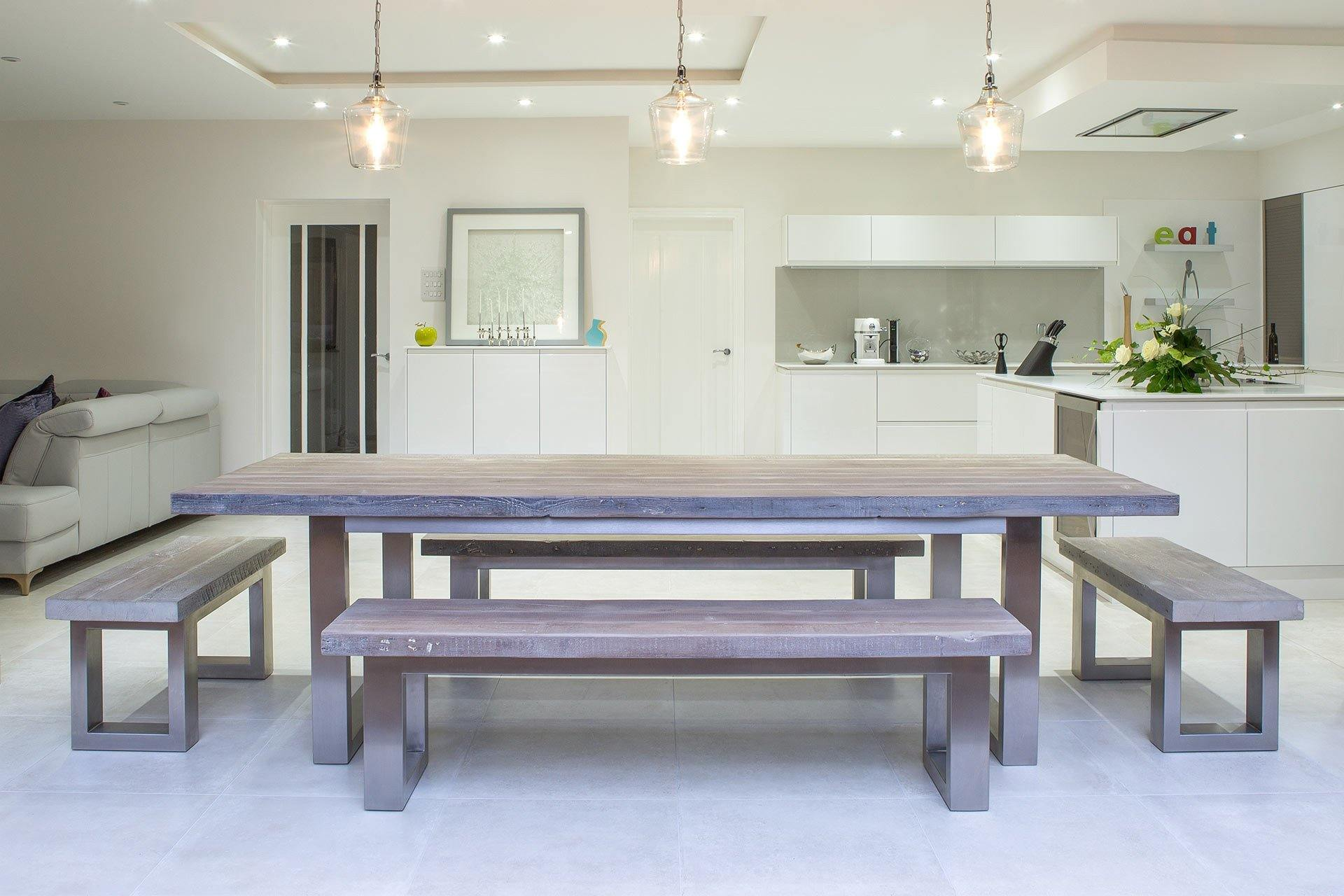 Grey 100cm End Benches & 178cm Benches With 284cm Long Overhang Table (Sold Separately)