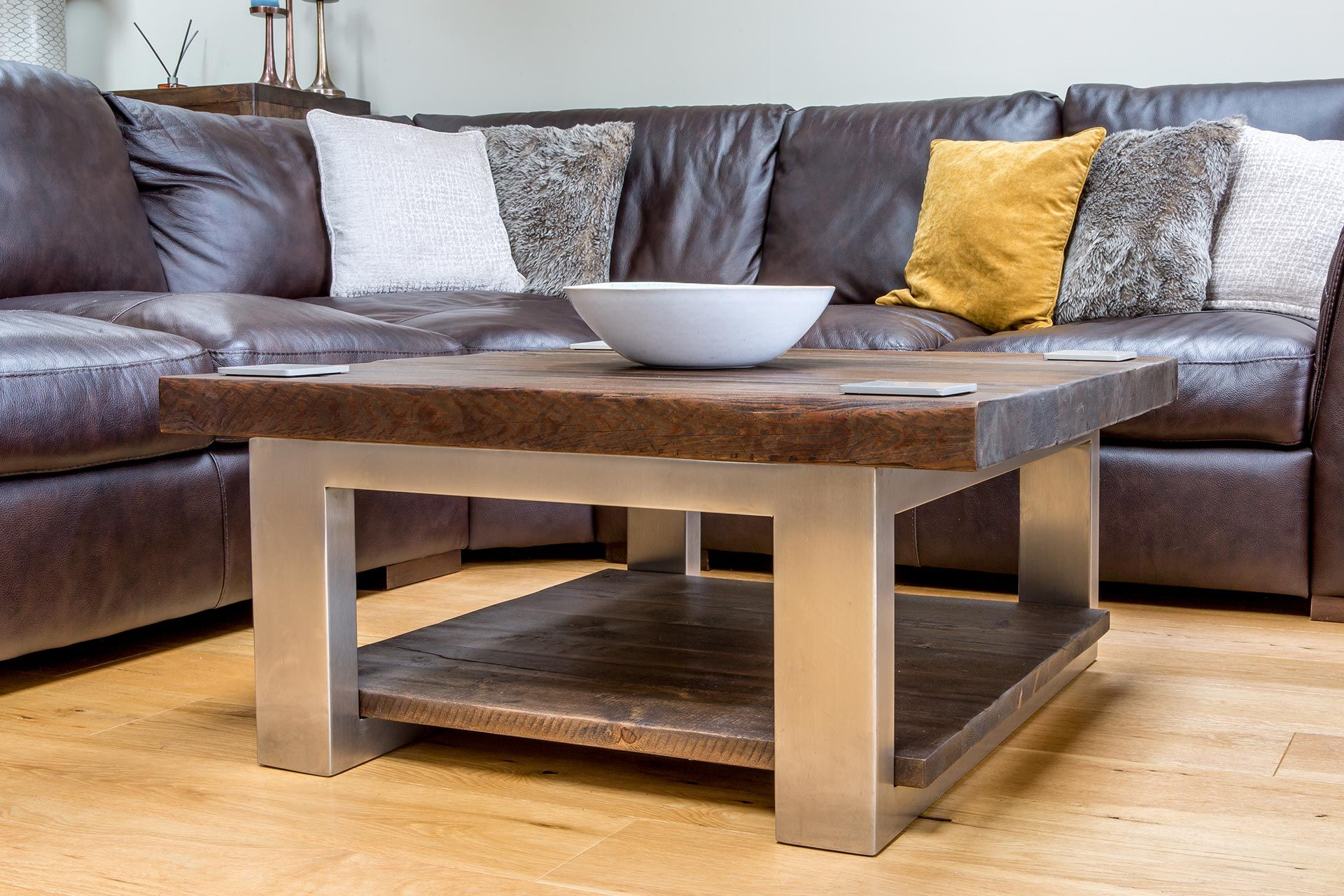Picture of: Reclaimed Wood And Metal Rustic Coffee Table Eat Sleep Live