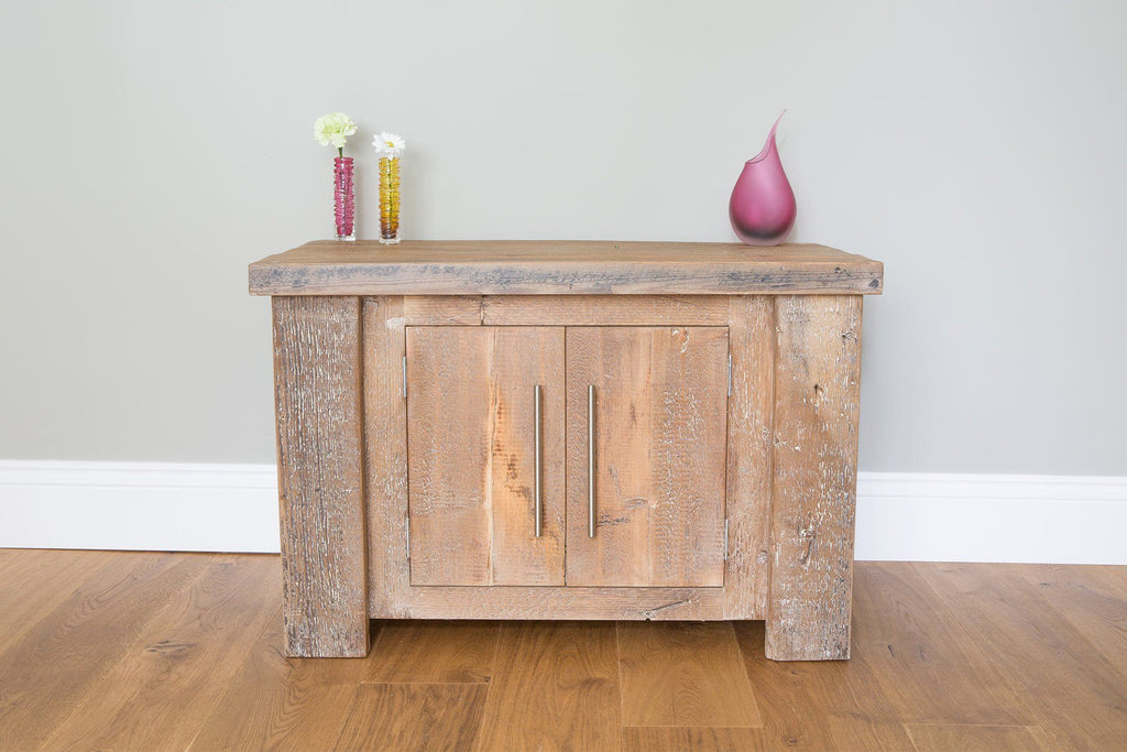 Natural 88.5cm Low Cabinet With Bar Handles