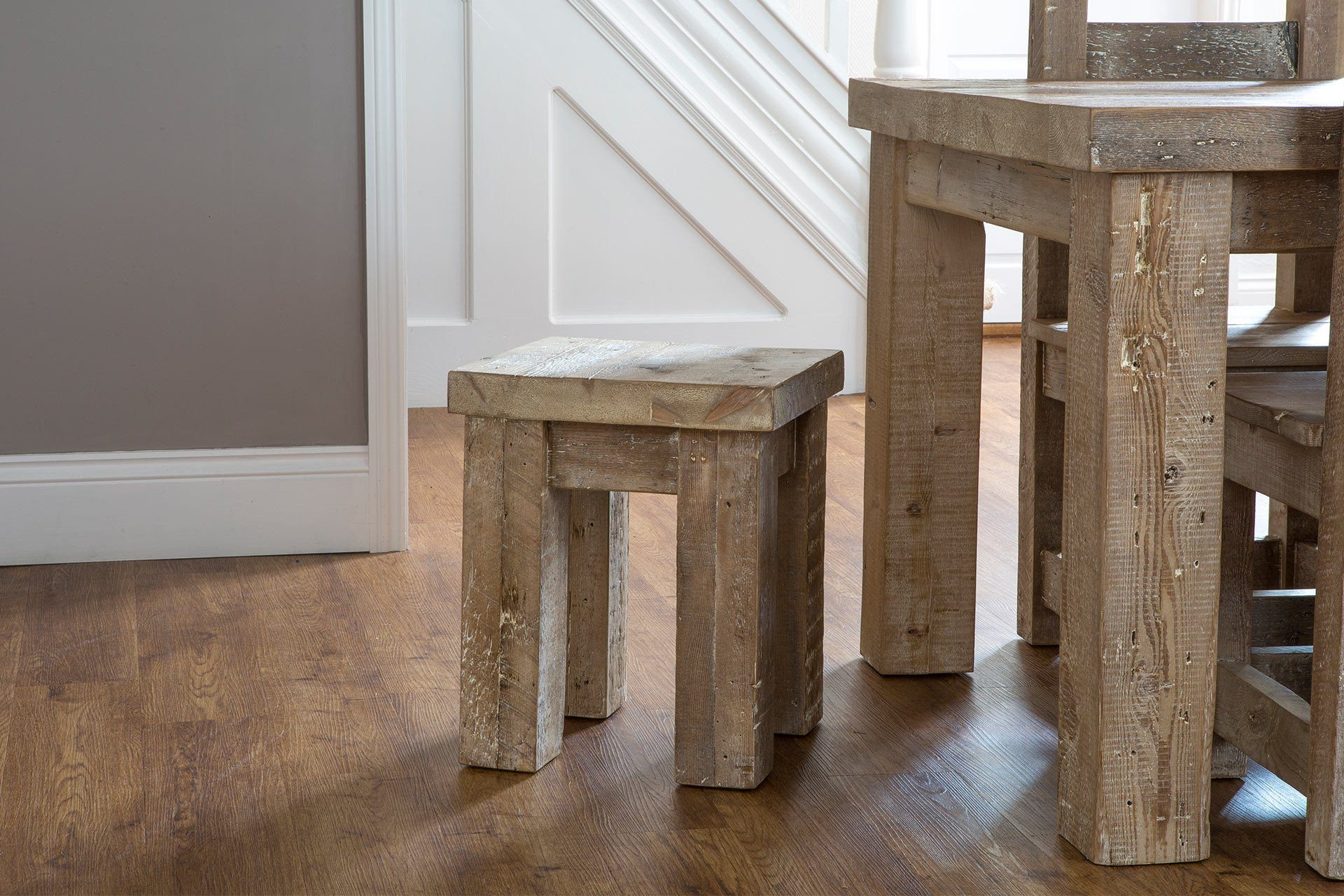 Natural Stools With 155cm Table & Hudson Chairs (Sold Separately)