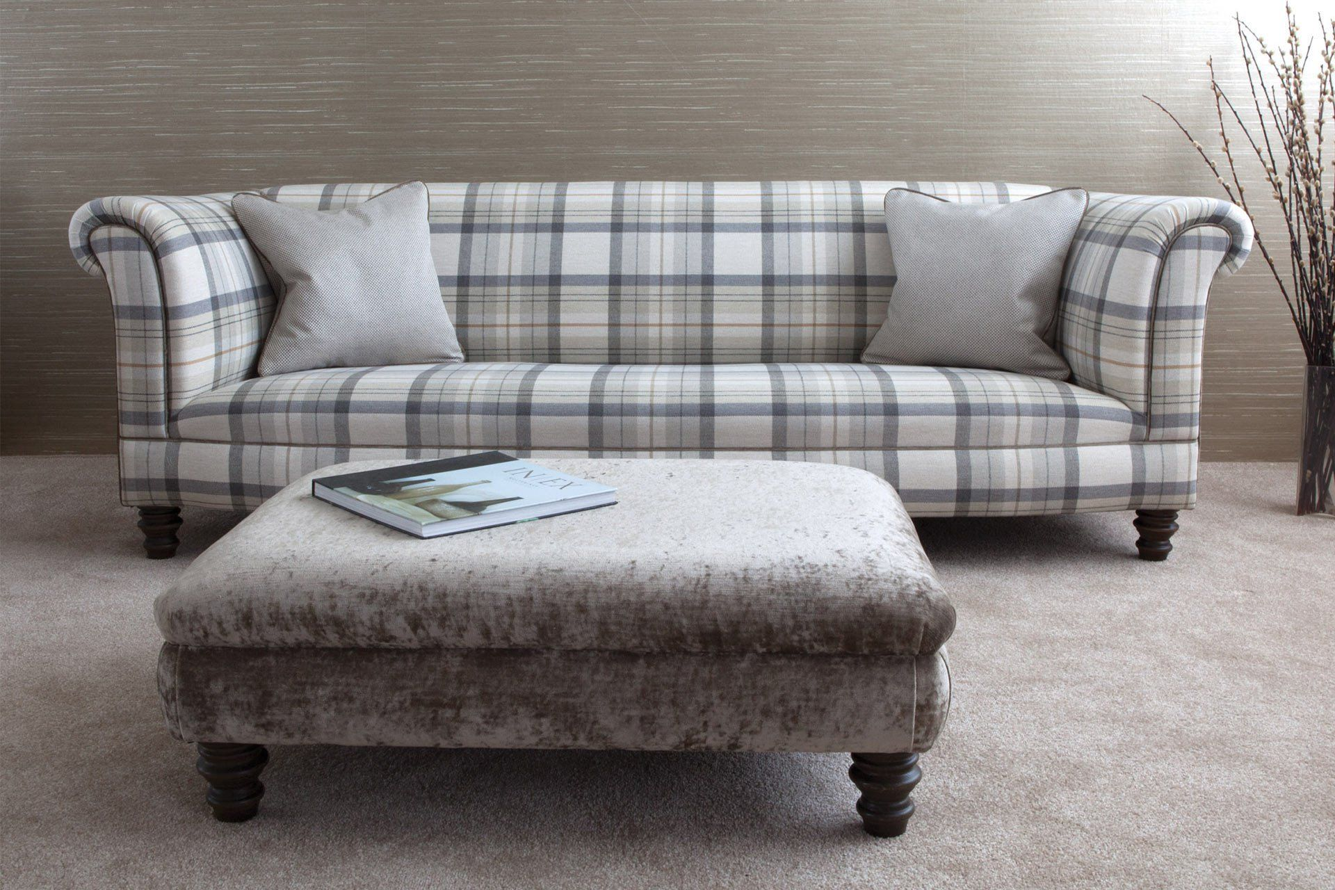 218cm Standard Back Sofa With Balmoral Check Fabric In Pumice Colour & Milo Pebble Cushions & Piping