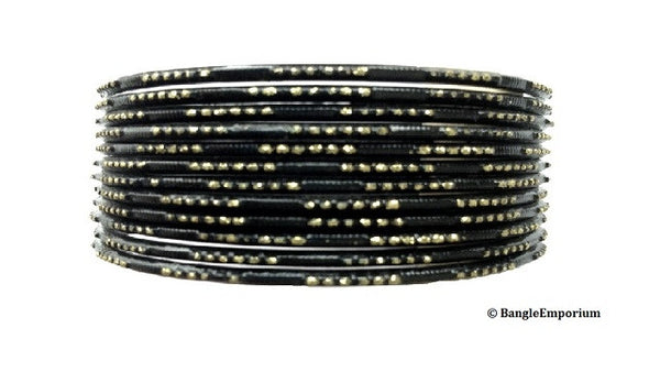 Antique Gold Glitter with Black Bangles (2.8/2.10)