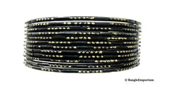 black bangles indian bollywood pakistani metal alloy bracelets gold dots 2.8 2.10