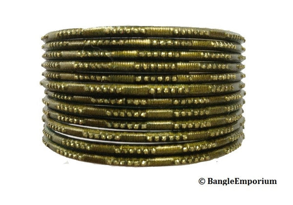 Antique Gold Glitter with Green Bangles (2.8)