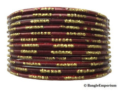 Antique Gold Glitter with Maroon Bangles (2.8)