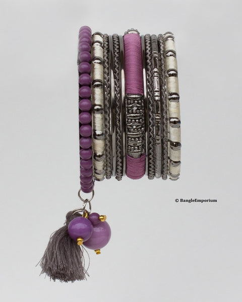 Boho: Purple Cream Tassel Bead Kada (2.8 / 2.10 / 2.12)