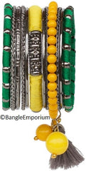 Boho: Yellow Green Tassel Bead Kada (2.8 / 2.10 / 2.12)
