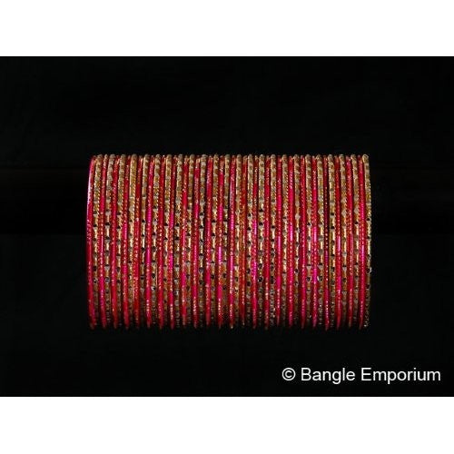Chamak Bangles: Hot Pink and Gold (2.8)
