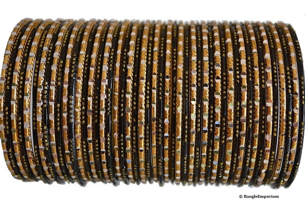 Chamak Bangles: Black and Gold (2.8 / 2.10 / 2.12)