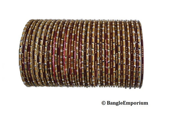 Chamak Bangles: Maroon and Gold (2.8)