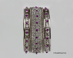 Metal bangles purple cz crystal cubic zirconia 2.8 2.10 2.12 made in india