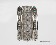 green metal bangle bracelets made in india cz cubic zirconia crystal 2.8 2.10 2.12