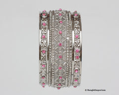 Pink metal bangle bracelets made in india cz cubic zirconia crystal bangles 2.8 2.10 2.12