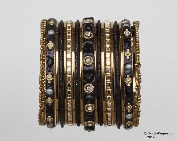 Chicklet: Black and Gold Bangle set for Girls size (2.0 / 2.2 )