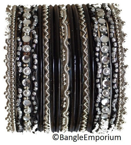 Chandni: Black and Silver Bangle set for Girls size (2.0 / 2.2 )