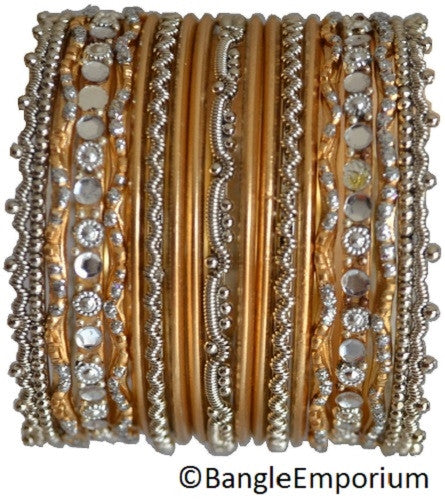Chandni: Gold and Silver Bangle set for Girls size (2.0 / 2.2 )