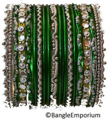 Chandni: Green and Silver Bangle set for Girls size (2.0 / 2.2 )